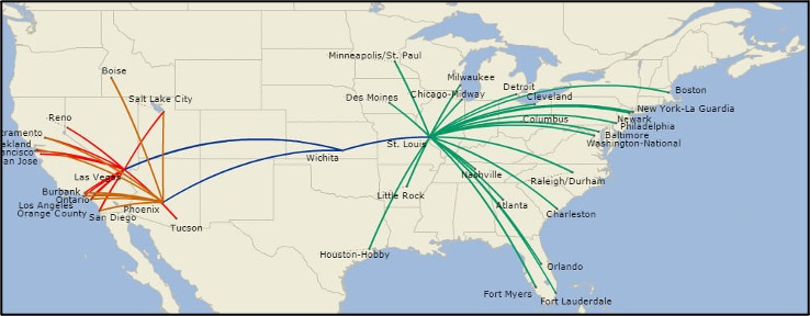 Map of the continental U.S. shows 10 routes, balanced between hubs of Las Vegas, Los Angeles, Phoenix, Wichita, and St. Louis.
