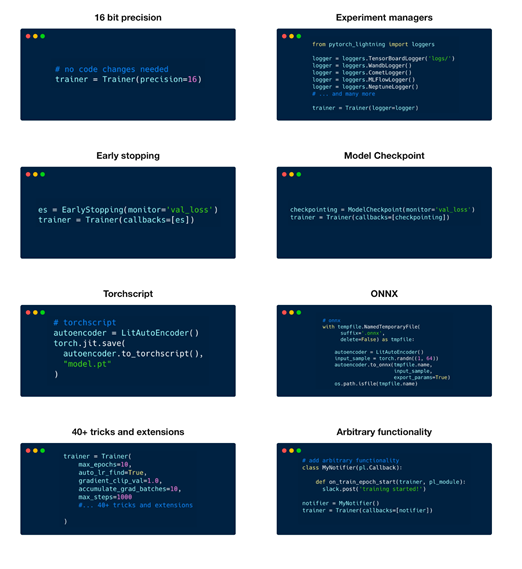 Example commands for fine-tuning tactics, such as early stopping, model checkpoint, experiment managers, and more.