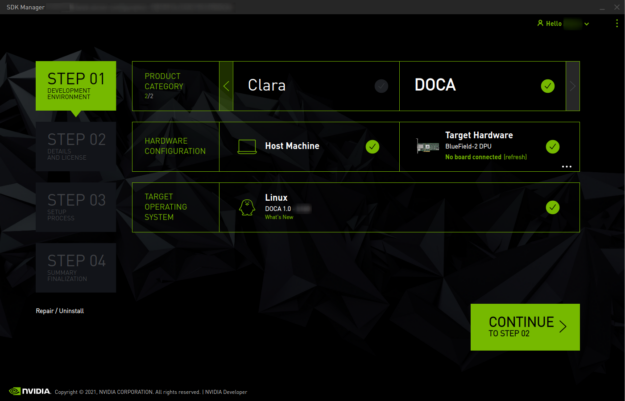 SDK Manager provides a graphical wizard interface to ease installation of NVIDIA DOCA and the OS image on the DPU.