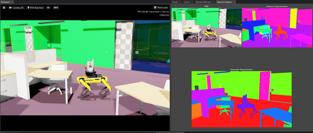 Image of an office environment where the chair and doors have been rendered with randomized parameters. The chairs are shown with random colors and the doors feature random textures.
