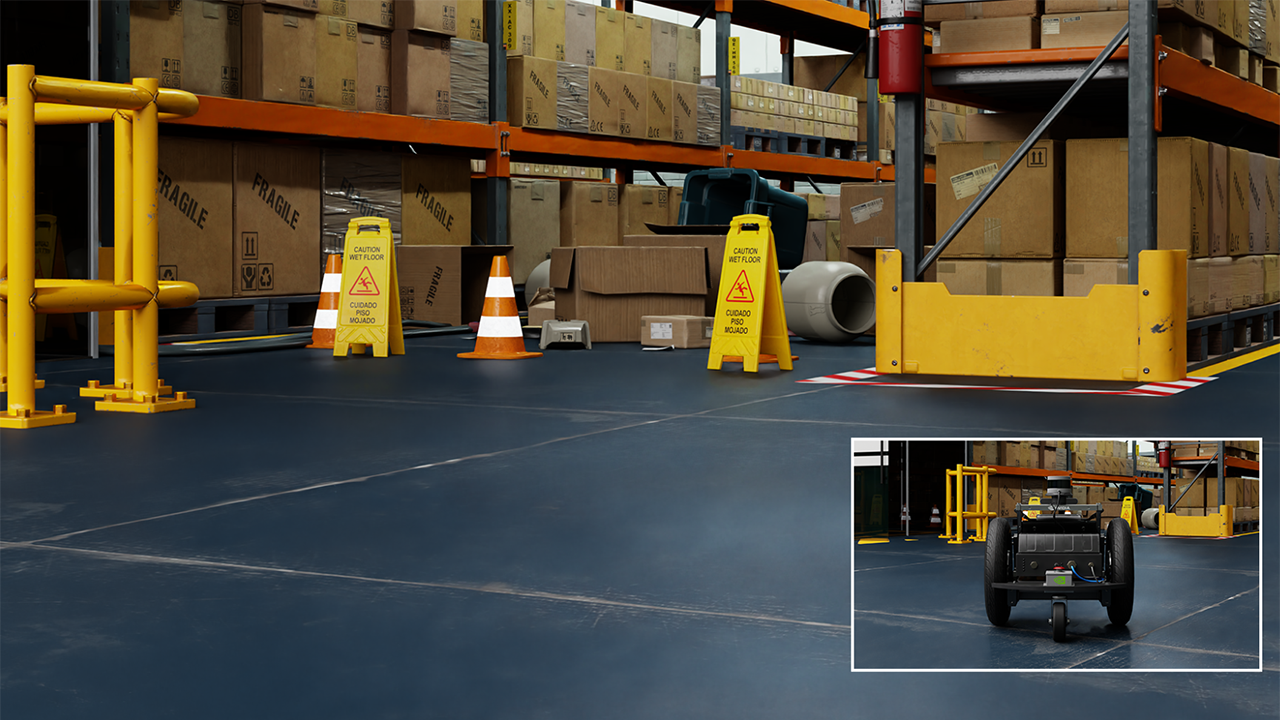 Image of a piece of robotics equipment in a warehouse.