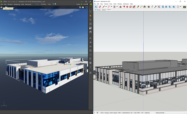 Importing the scene from SketchUp into Omniverse.