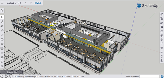 Image consists of a modern office building viewed in SketchUp's user interface.