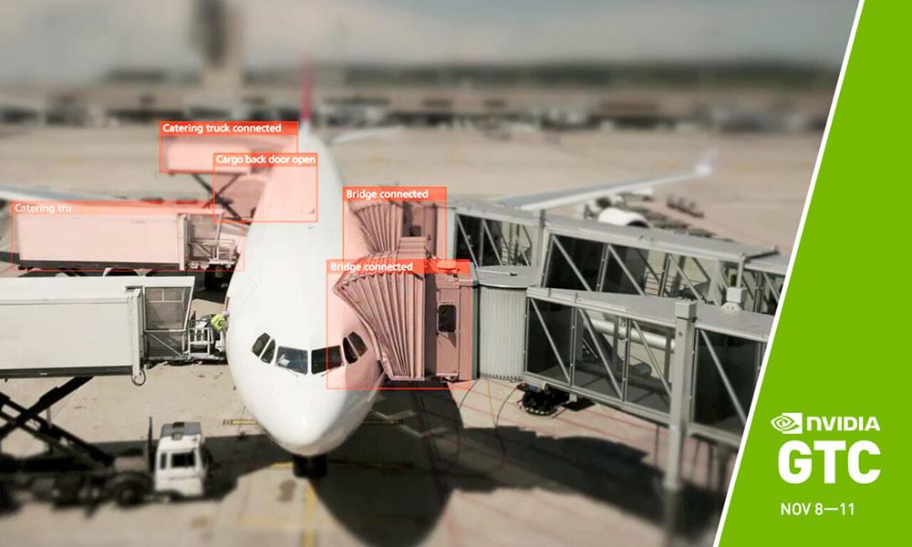GTC promo with airplane taking advantage of edge computing.