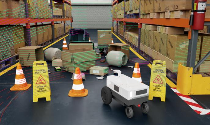 Image shows Carter V2 Mobile Robot with semantic Lidar in warehouse scene.