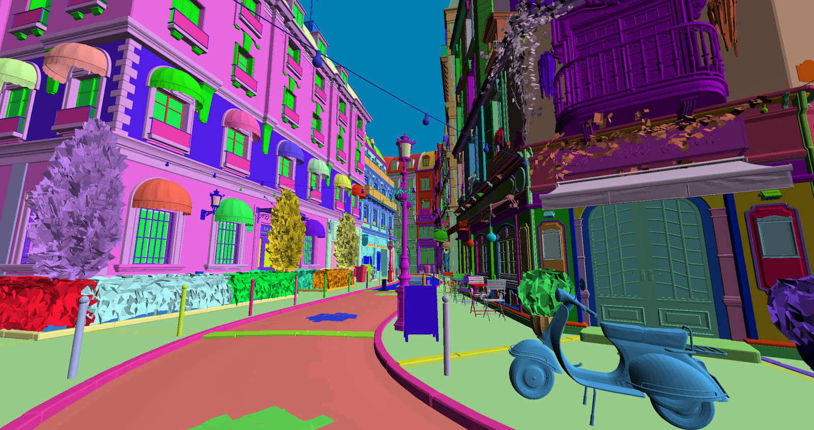 Visualization of primary ray hits coloring objects in the scene based on their instance IDs.