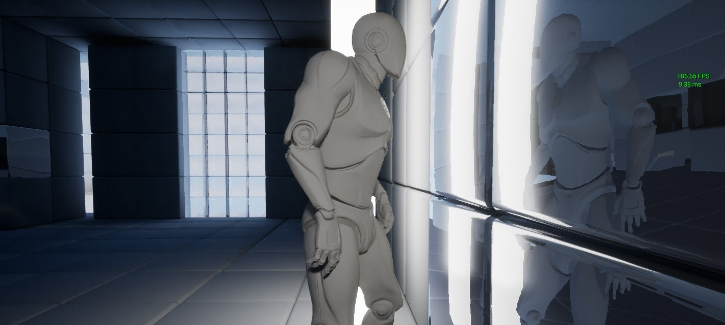 The picture shows mirror surfaces using half-resolution, ray-traced reflections.
