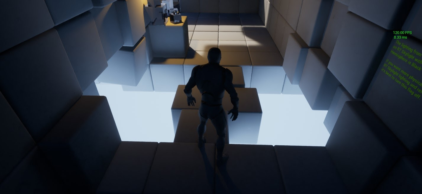 A ray-traced skylight casts light and shadow spherically into the scene from above and below.