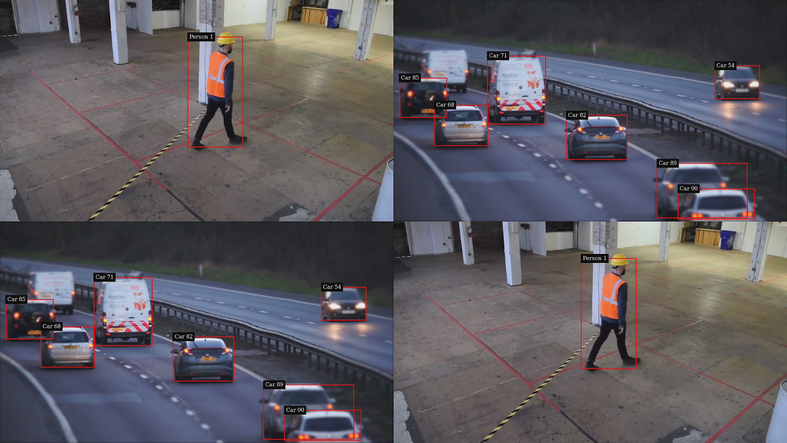 A snapshot taken by the media server. The picture contains four camera captures batched in a single frame. Two show a worker walking around a restricted area and a bounding box around the worker labelled as person. The other two show a highway with several cars enclosed in bounding boxes labelled as car.