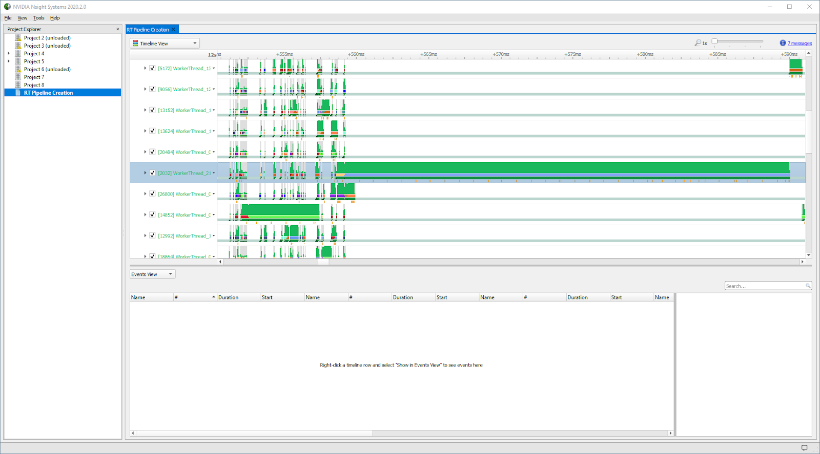 This screenshot shows the long-pole thread.