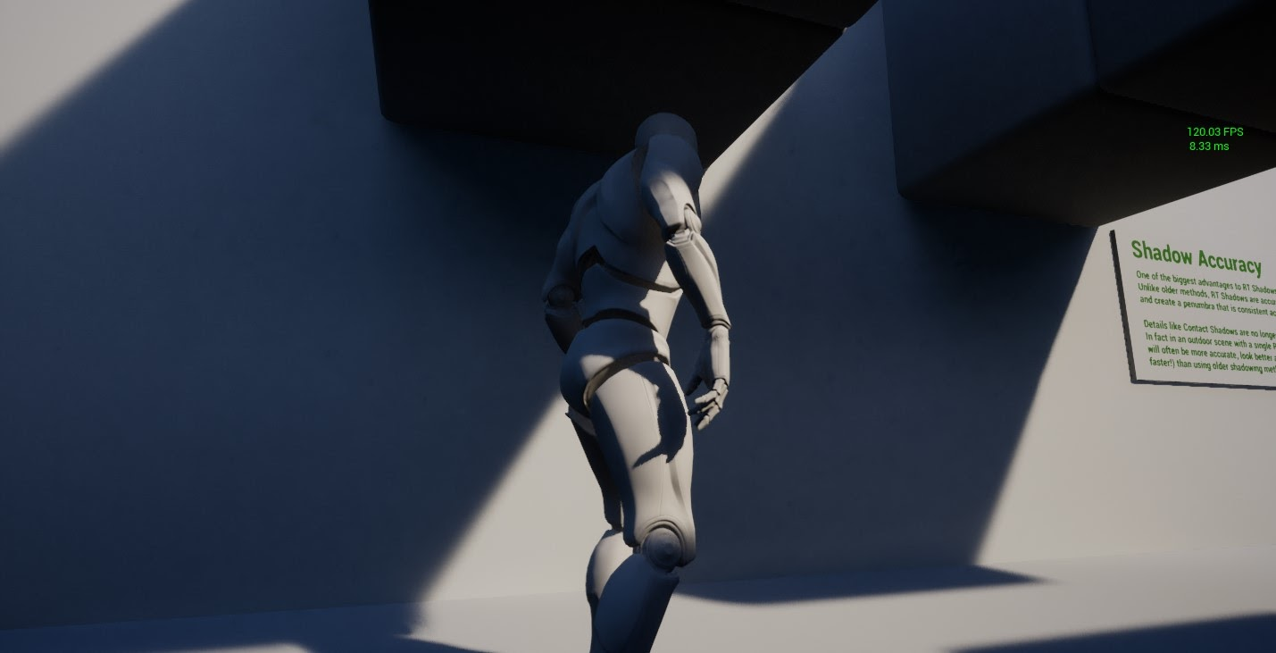 A ray-traced shadow penumbra from the direct light creates a realistic shadowing effect.